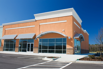 Newly constructed retail store with arched awning