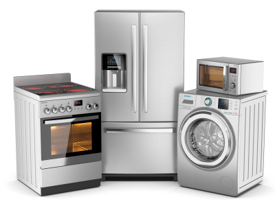 Home appliances. Group of silver refrigerator, washing machine, electric stove, microwave oven on white background 3d